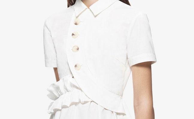 Wedding - Self Portrait Button Shirt Dress White