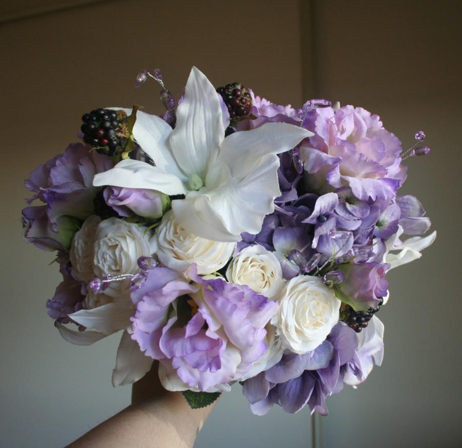 Hochzeit - Lavender Bouquet & Boutonniere Set - Lisianthus, Miniature Roses, Orchids, Hydrangea, Crystals, Lace - Rustic Garden Wedding, Romantic Fairy