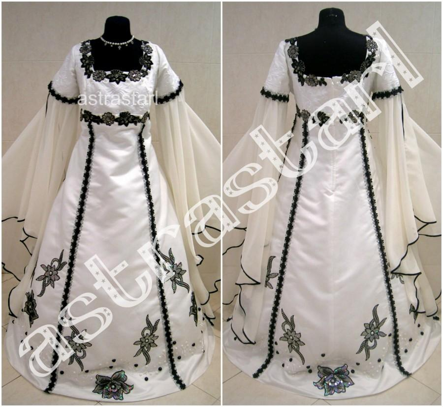 Свадьба - Medieval wedding dress 18-20-22 XL-2XL-3XL gothic witch tudor renaissance costume fancy lotr larp handfasting wicca victorian halloween ren