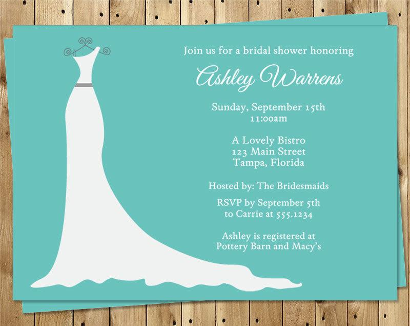 Bridal Shower Invitations Aqua Blue White Wedding Dress Turquoise Set Of 10 Printed Cards FREE Shipping SIGOT Simple Gown