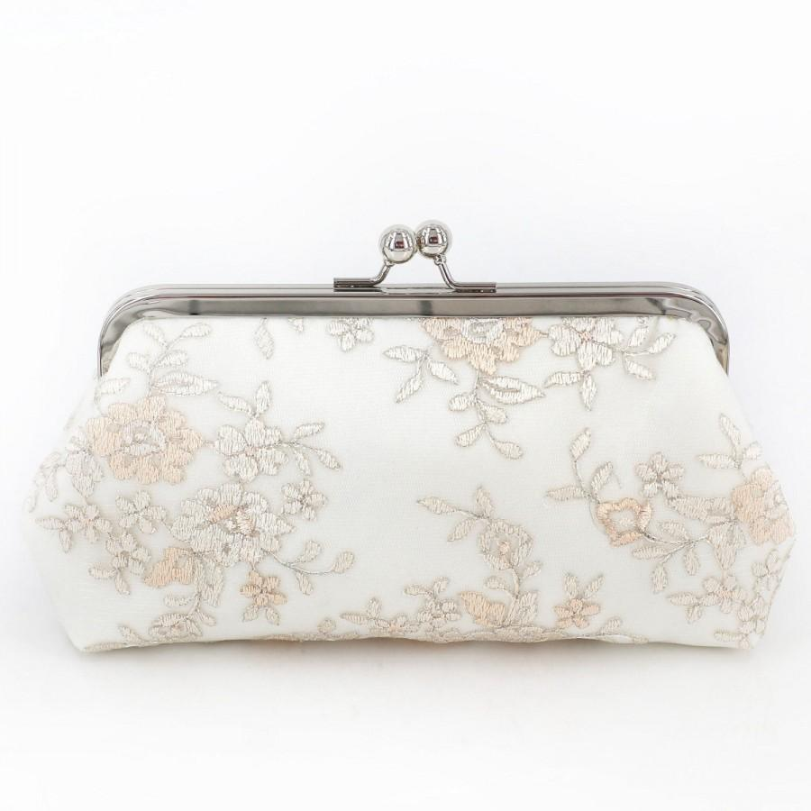 Mariage - Blush pink champagne peonies Embroidery Tulle Lace Bridal Clutch in Ivory 8-inches