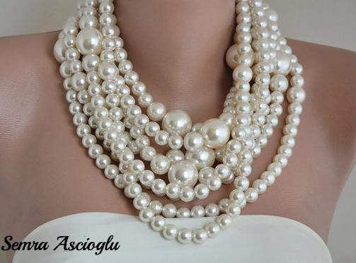 Mariage - Wedding Pearl Necklace ,Huge Pearl Necklace, pearl necklace multistrand choker Ivory pearl necklace ,pearls , chunky pearls , - $137.00 USD