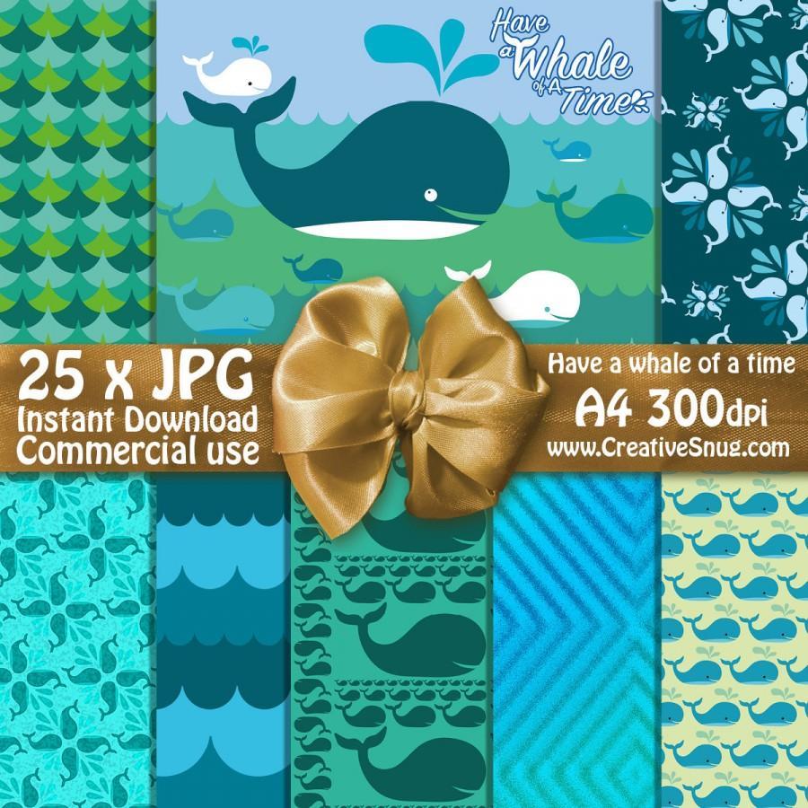 زفاف - Have A Whale of a Time Pattern Digital Paper Pack  •  A4 JPGs• Printable Backgrounds Instant Download Commercial Use – Turquoise & Blue