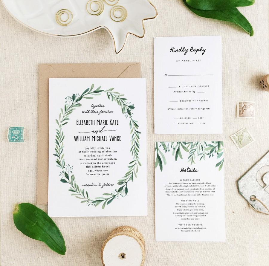 Greenery Wedding Invitation Template • Printable Wedding ...