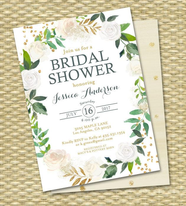 زفاف - Bridal Shower Invitation Printable Bridal Shower Invite White Roses Gold Glitter Green Botanical Greenery ANY EVENT