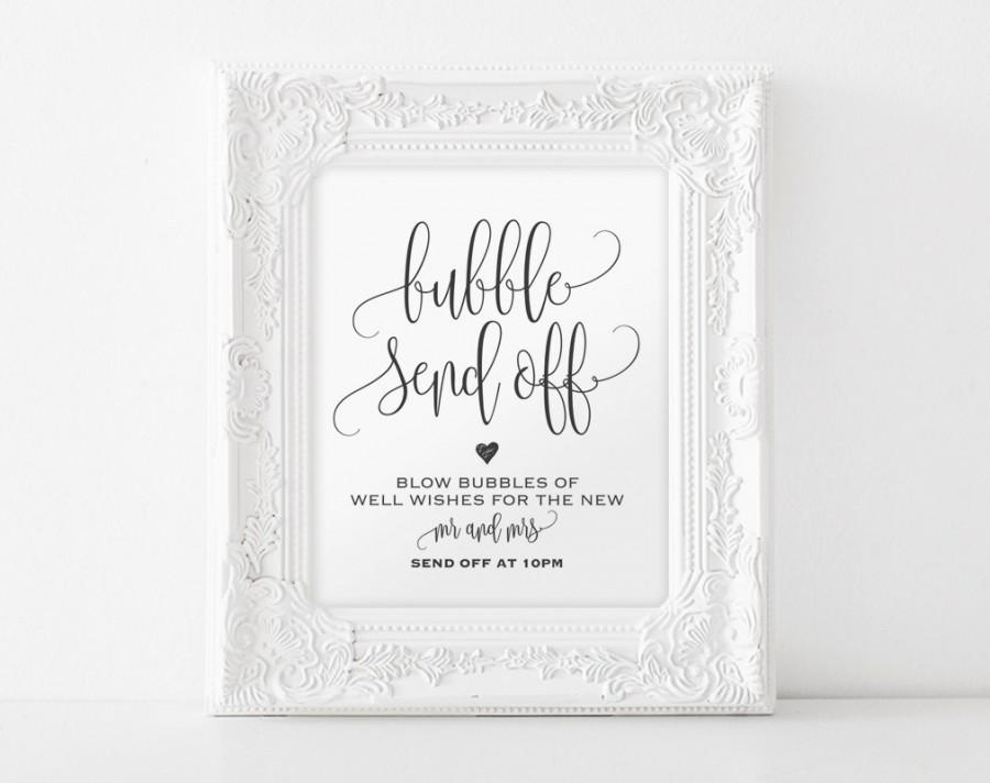 graphic regarding Wedding Sign Printable called Bubble Deliver Off Indicator, Blow Bubbles Indicator, Marriage ceremony Mail Off