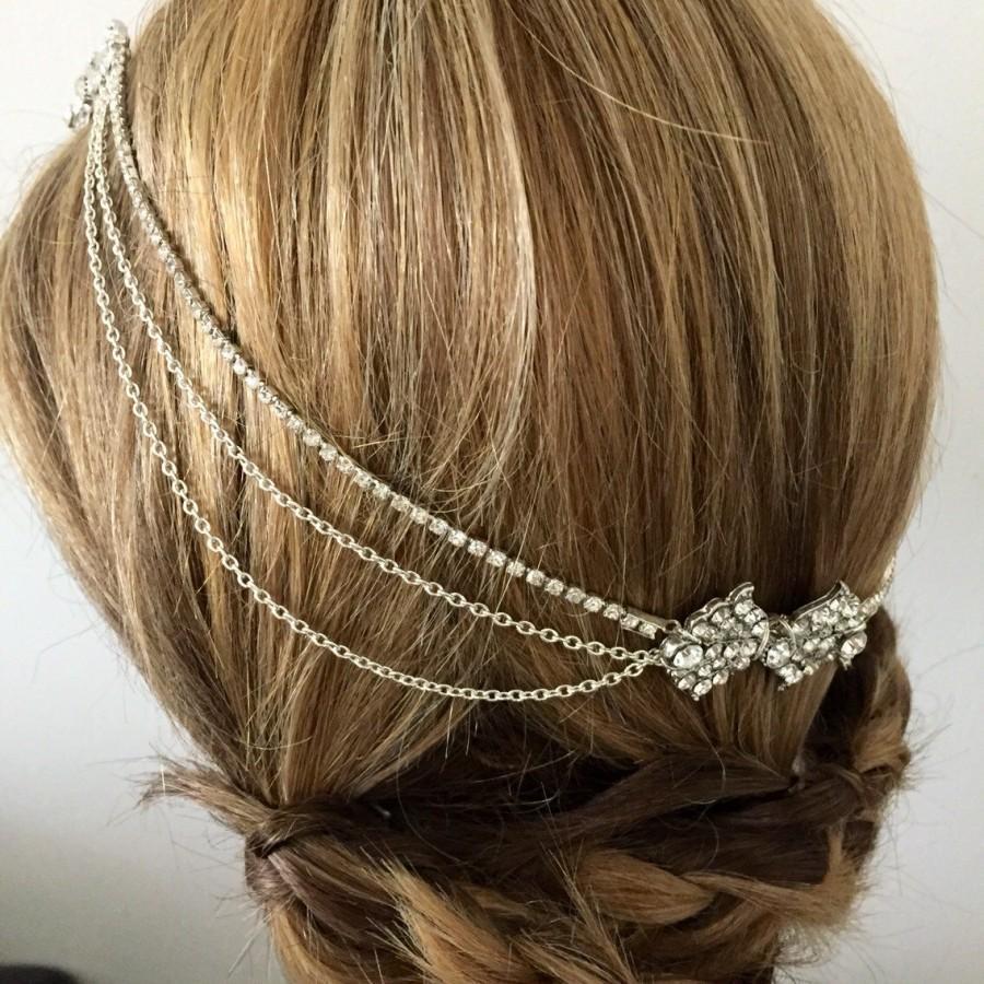 زفاف - Art deco hair chain , Art deco head chain , Bridal headpiece , 1920s headpiece