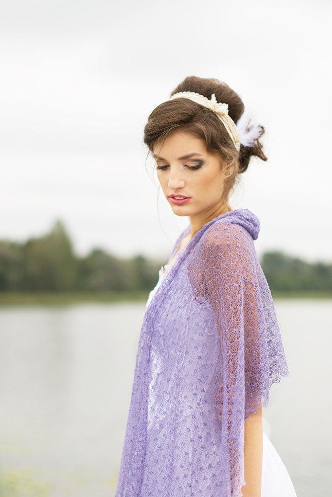 Mariage - Lavender Scarf Linen Shawl Bridesmaids Stole Sheer Wedding Shawl Boho Scarf Gauze Wrap Knitted Lace Scarf