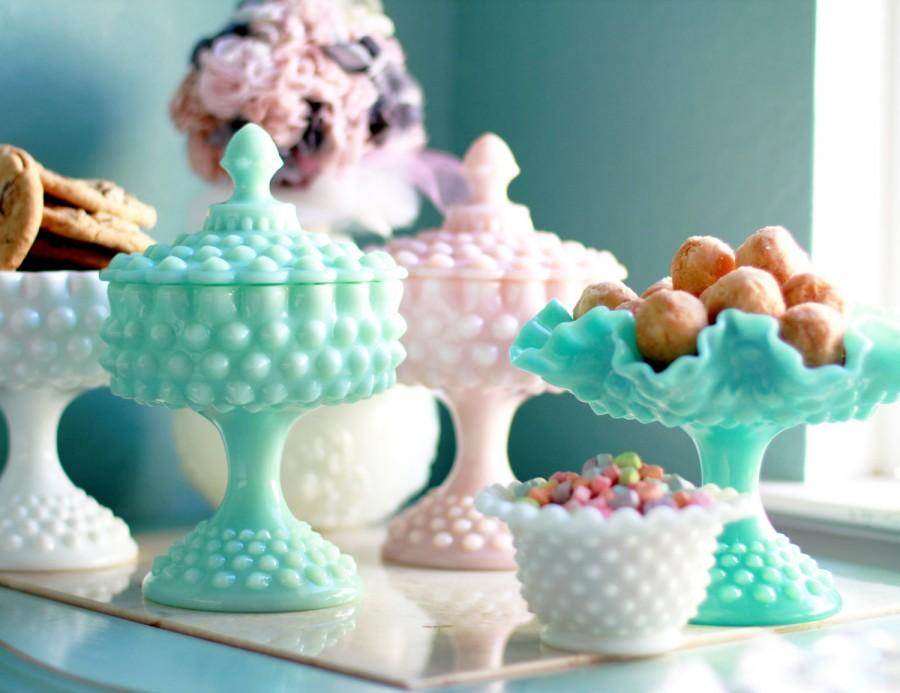 Turquoise Milk Glass Compote With Lid Blue Hobnail Candy Dish