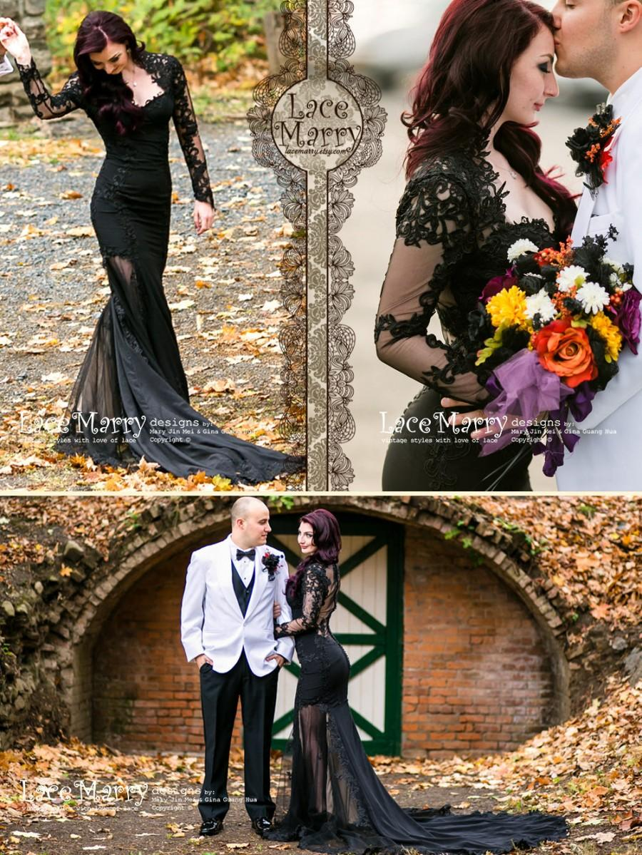 Wedding - Black Wedding Dress from Silk Crepe with Sheer Open Back, Buttons and Long Sleeves in Floor Length with Transparent Slits and Train
