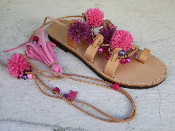 3e61e4015b9ce Tie Up Gladiator Sandals, Greek Leather Sandals, Boho Sandals, Pom ...