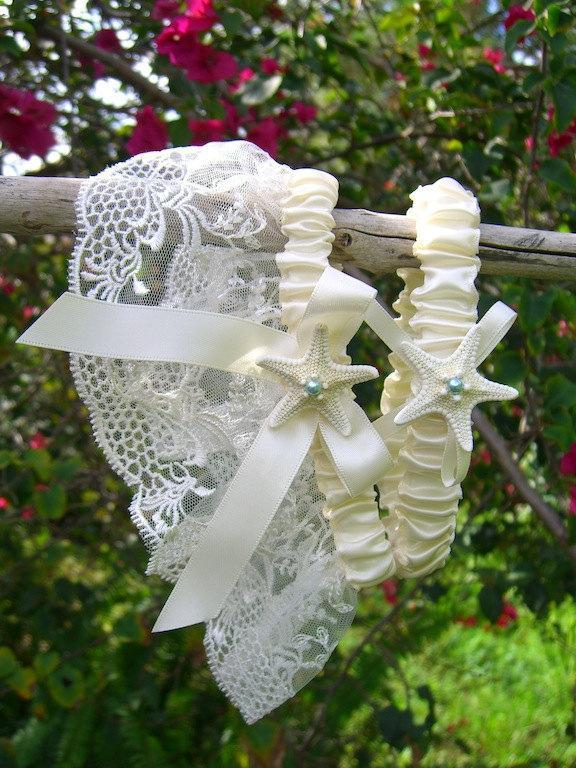 Mariage - Beach Wedding Garter Set,Starfish Garter Set,Coastal Wedding,Beach Wedding Accessories,Destination Wedding Garter,Beach Prom Garter Set