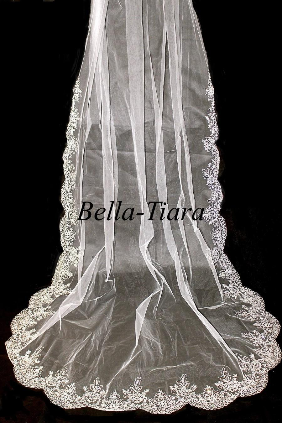 Свадьба - ITALIAN COLLECTION, cathedral crystal beaded veil, beaded cathedral wedding veil, bridal veil with crystals, chapel veil, floor length veil