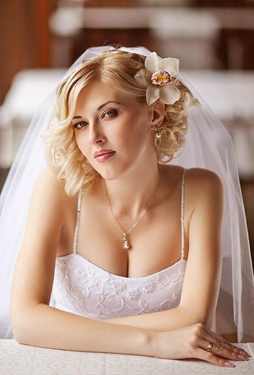 Wedding Hairstyles For Short Hair Curly Wedding Hairstyle With Veil 2706621 Weddbook