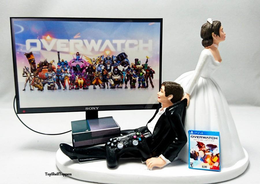 زفاف - Wedding Cake Topper 0verwatch Gamer Xbox One/PS4 Custom
