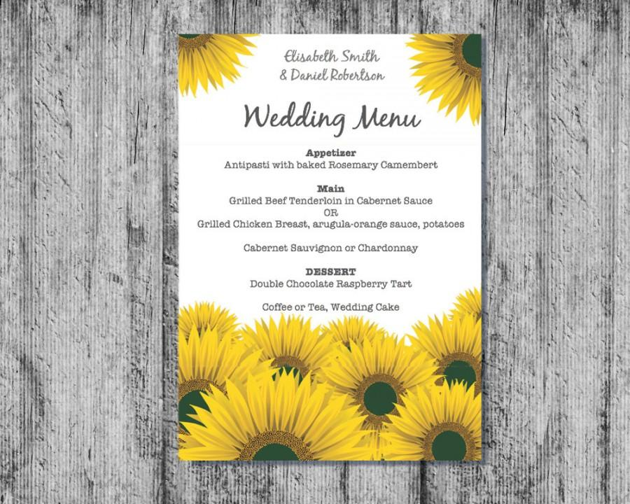 photo relating to Printable Sunflower named Printable Marriage ceremony Menu, Downloadable Wedding day Menu, Marriage