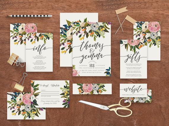 "Mariage - Printable Wedding Invitation Suite ""Melody"" - Printable DIY Invite, Affordable Wedding Invitation"