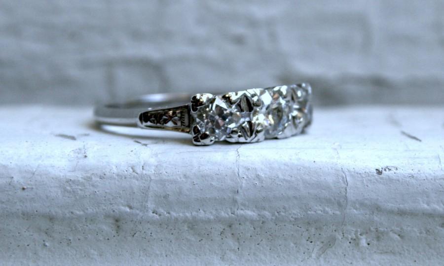 Mariage - Antique 14K White Gold Diamond Three Stone Engagement Ring - 1.20ct.