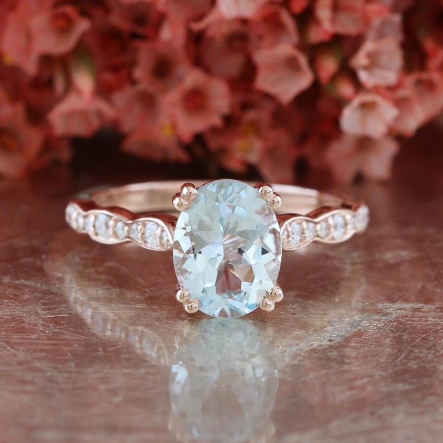 Solitaire Aquamarine Engagement Ring In 14k Rose Gold Scalloped ...