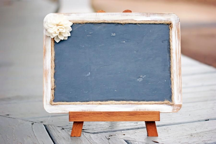 Mariage - White Distressed Framed Rustic Chalkboard - Chalkboards - Chalkboard Photo Prop - Rustic Wedding - Real Slate Chalkboard - Chalkboard Sign
