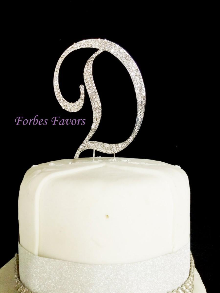 زفاف - Large Gorgeous Real Rhinestone Monogram Letters Wedding Cake Topper