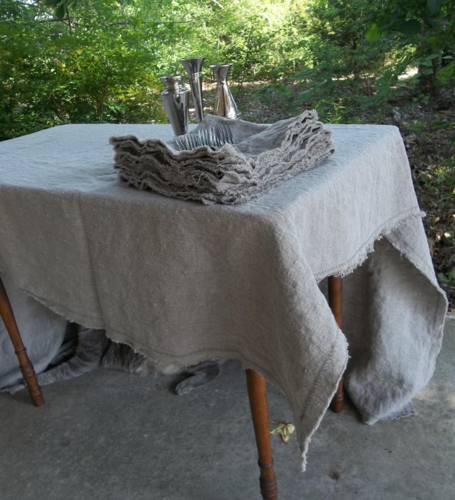 زفاف - Natural Linen Tablecloth Custom Tablecloth Washed Linen Napkins   Handmade Well Wrinkled Tablecloth Wedding Decorations Table Decor