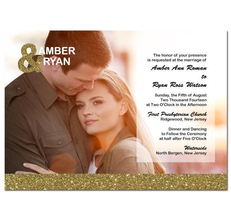 زفاف - Gold Glitter Wedding Invitation with Photo & Ampersand Card DIY PRINTABLE Digital File or Print (extra)