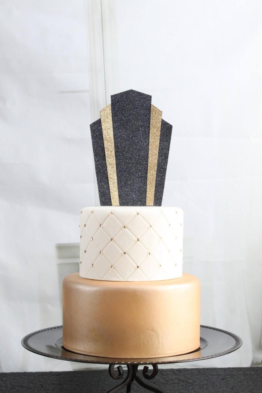 Gatsby Art Deco Glittery Pick Cake Topper, Black And Gold, Roaring ...