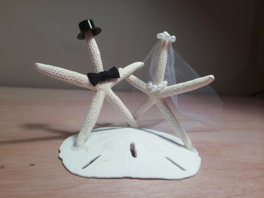 زفاف - Bride and Groom Starfish Wedding Cake Topper / Decoration