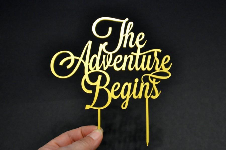 زفاف - The adventure begins Wedding Cake Topper Gold silver black white red, Cake Toppers for wedding, greatest adventure