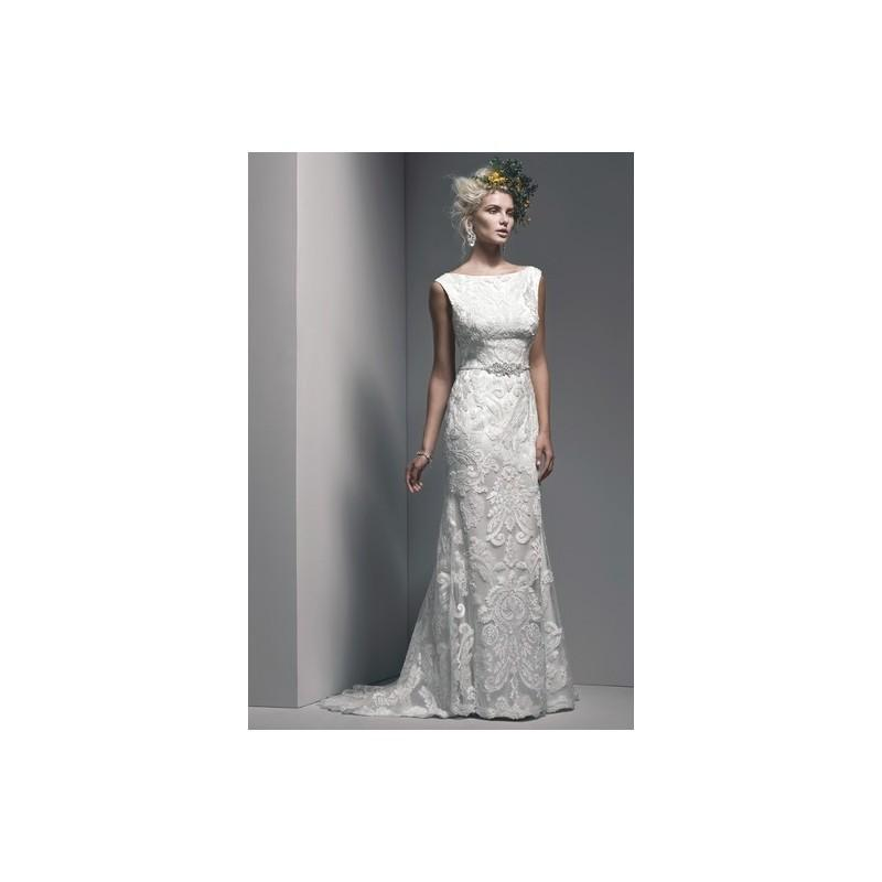 Свадьба - Sottero and Midgley Wedding Dress Fall 2015 Jaimeson - Sottero and Midgley Ivory High-Neck Sheath Fall 2015 Full Length - Nonmiss One Wedding Store