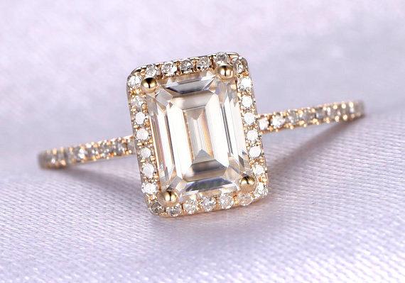 Mariage - 1.8ct Moissanite Engagement Ring,6x8mm Emerald Moissanite,Diamond Matching Band,Bridal Ring/Promise Ring/Stacking,14k yellow gold