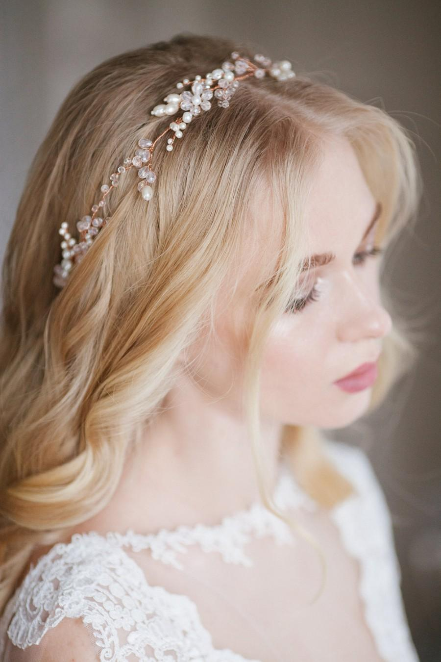 Wedding - Wedding bridal wreath of pearl beads and glass beads, bridal hair piece, bridal headpiece, wedding headpiece