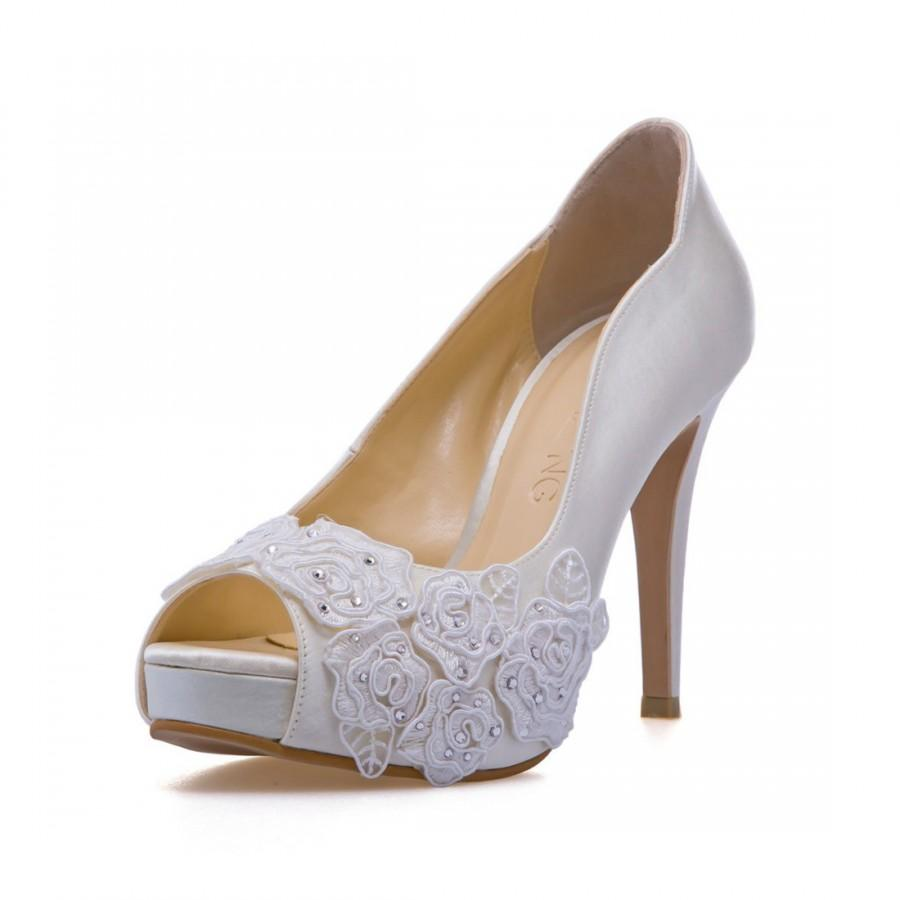 Rose Garden V2 Ivory White Laceadorned Wedding Shoes Bridal Heels Lace Pearl