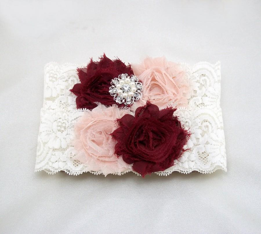 Wedding - Blush Wine Burgundy Wedding Garter Set, Bridal Lace Garter, Shabby Flower, Ivory Stretch Lace, Rhinestone Pearl Bling, Gold Button BtnChc