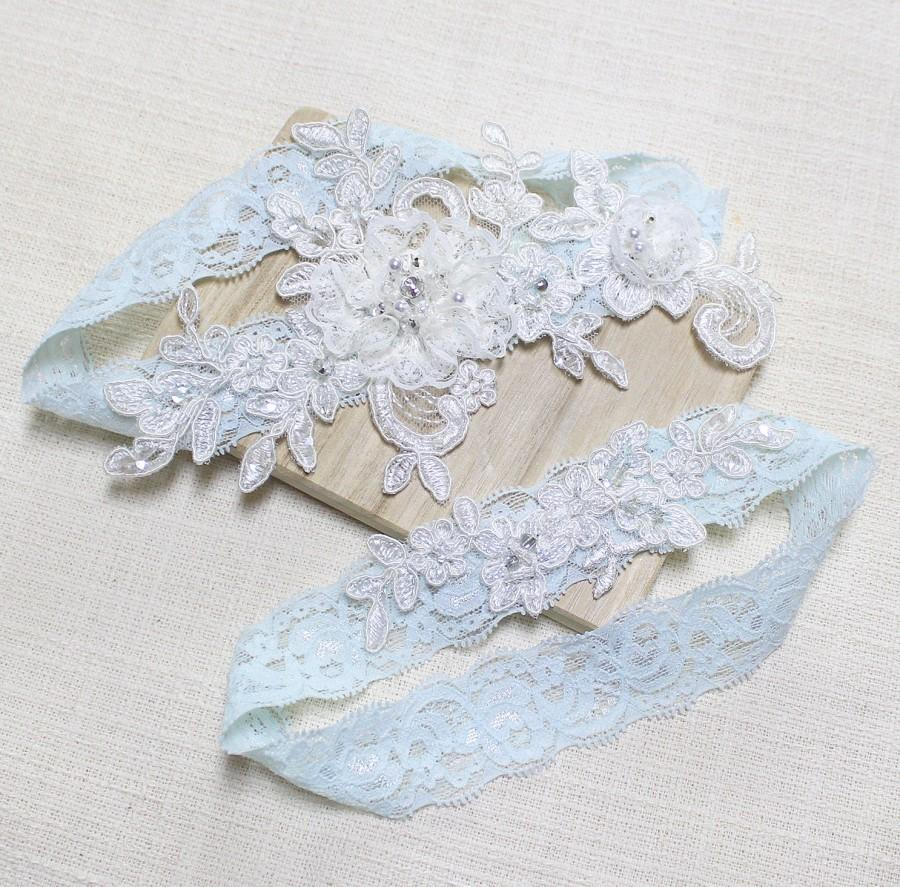 Hochzeit - Lace blue garter set, wedding garter set, bridal lace garter set, garter set, blue lace garter, blossom  garter set
