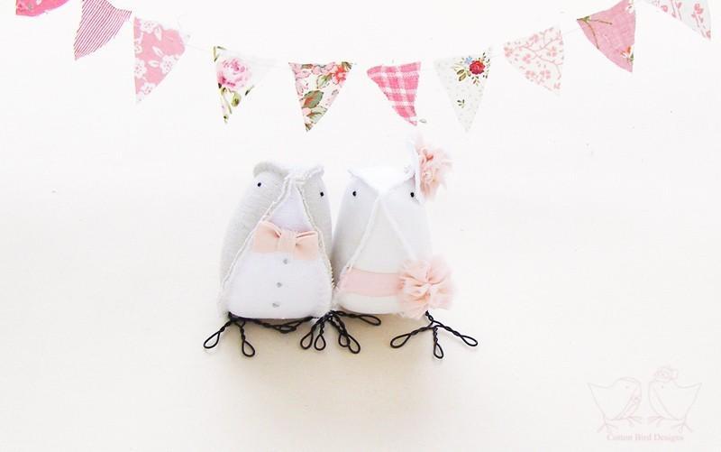 زفاف - Cute Cake Toppers Wedding Cake Topper Fabric Birds Spring Summer Weddings