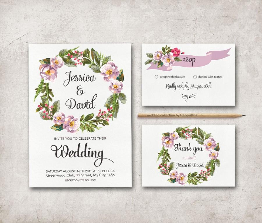 Floral Wedding Invitation Printable Wedding Invitation Suite Boho