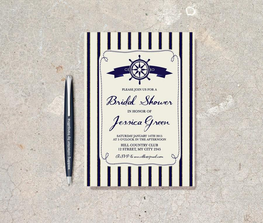 Wedding - Nautical Bridal Shower Invitation Printable, Nautical Birthday Invite, Navy Blue & Gold Striped Invitation, Gold and Blue Bridal Shower