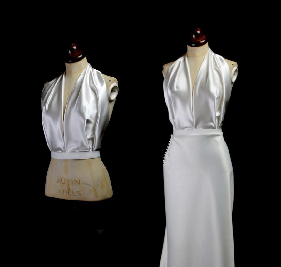 Свадьба - Aida - Silk Satin Draped 1930s Style Halter Top - Made to Order - Free Shipping Worldwide