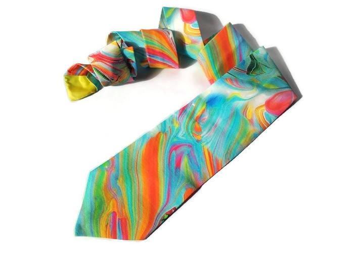 Wedding - wedding watercolor necktie bright tie skinny men's tie standard tie for men rainbow ties for groomsmen bow tie for groom pocket square dfhye