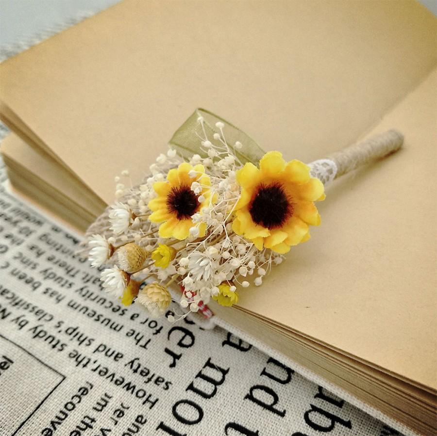Rustic Wedding BoutonniereSunflower Burlap Groom Lapel PinBabys Breath And Sunflower CorsageRustic Boutonniere