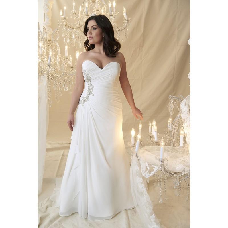 Plus-Size Dresses Kandinsky By Callista - Ivory White Chiffon Floor ...