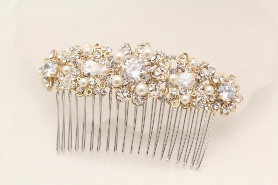 زفاف - Wedding hair comb Gold Pearl hair comb,Wedding hair accessories,Wedding hair piece,Bridal hair comb Gold,Wedding hair jewelry Gold Bridal