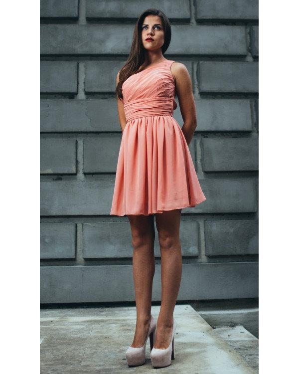 Hochzeit - Cute Short Peach Dress/Bridesmaid One Shoulder Flared Dress/Formal Gown Wedding Draped/Summer Peach Short Dress/