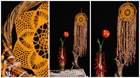 Mariage - Dreamcatcher orange Dream Catcher vine Dreamcatcher tangerine dream Dream сatcher gift idea dreamcatchers boho dreamcatcher wall handmade