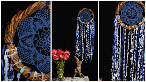 Wedding - Dreamcatcher BLue Dream Catcher vine Dreamcatcher navy Dream сatcher gift idea dreamcatchers boho dreamcatcher wall handmade idea gift eco
