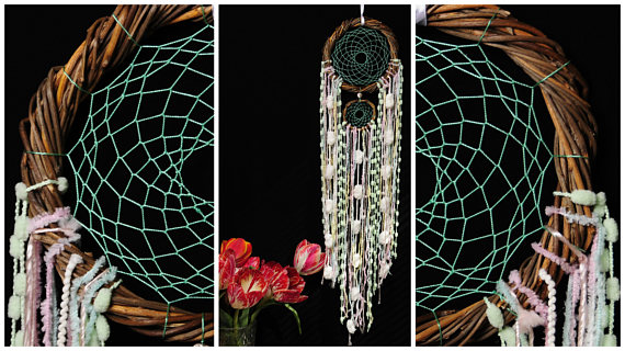 زفاف - Dreamcatcher Mint Dream Catcher vine Dreamcatcher mentol Dream сatcher gift idea dreamcatchers boho pink dreamcatcher wall handmade
