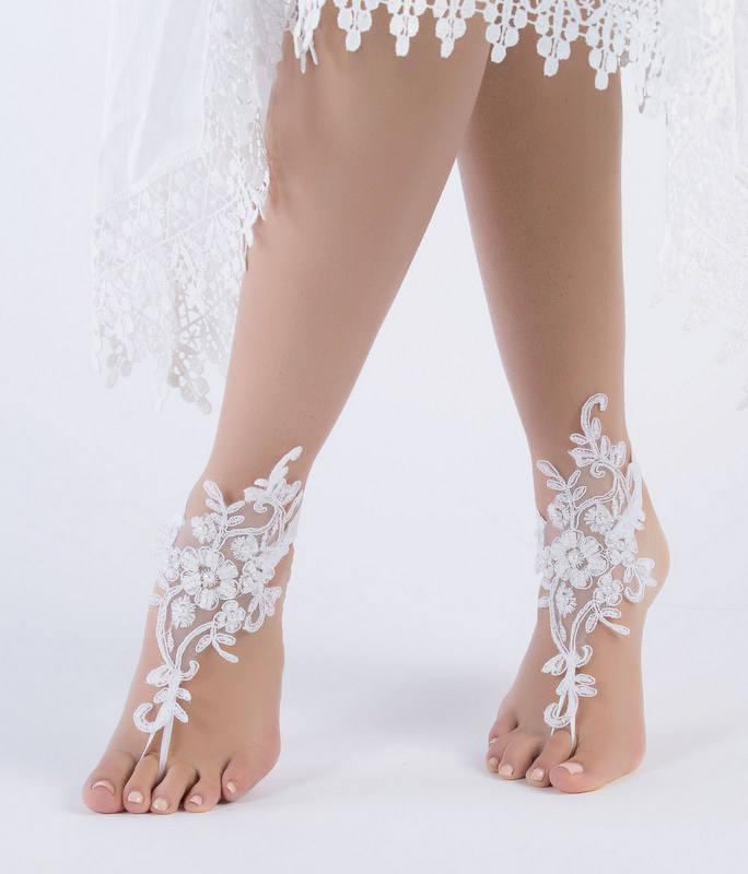 Ivory Lace Barefoot Sandals Beach Wedding Bridal Shoes Foot Jewelry Bridesmaid Anklet