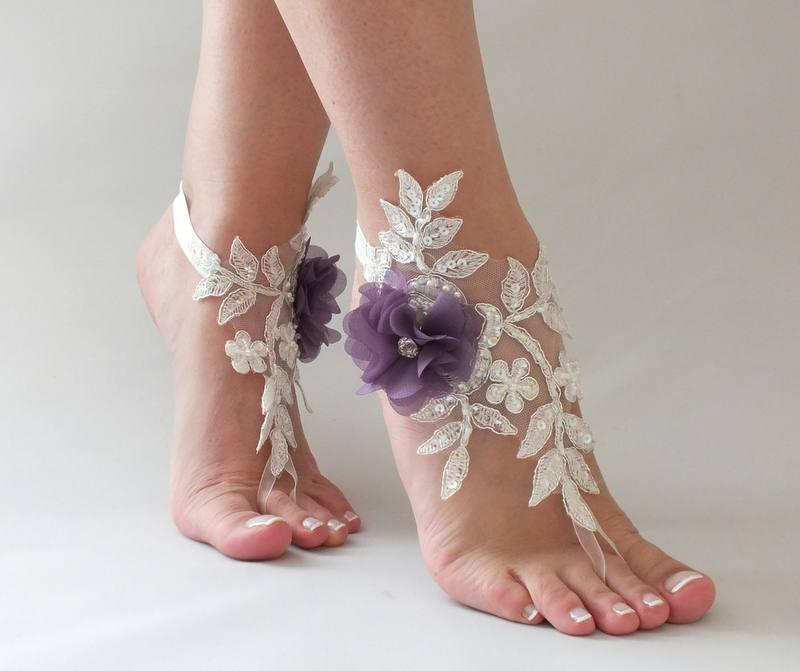 Bridesmaid Gifts Beach Wedding: Ivory Purple Flowers Lace Barefoot Sandals Wedding